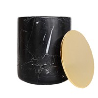 Black Marble Candle with Gold Lid