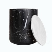 Black Marble Candle with Silver Lid