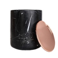 Black Marble Candle with Copper Lid
