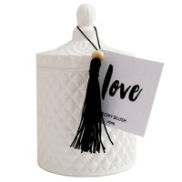 White Geo Cut Candle Jar