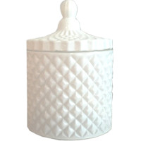 White Geo Cut Candle Large