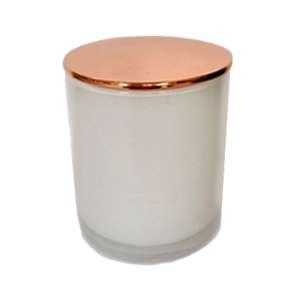 White Candle with Copper Lid