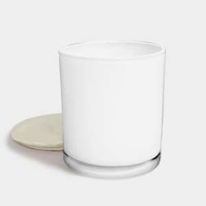White Candle with Silver Lid