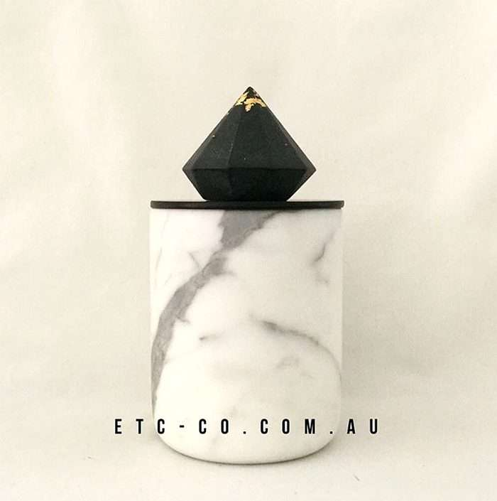 White Marble Candle with Black Lid