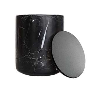 Black Marble Candle with Black Lid