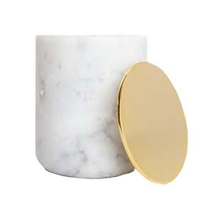 White Marble Candle with Gold Lid