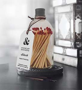Clear Matches Bottle - Matte Black Lid