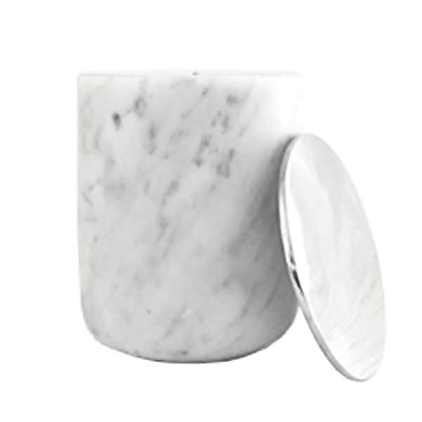 White Marble Candle with Silver Lid