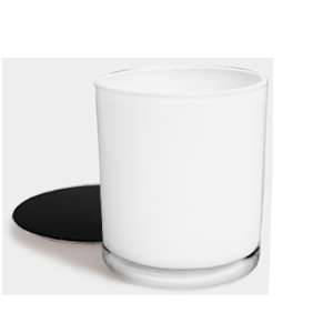 White Candle with Black Lid