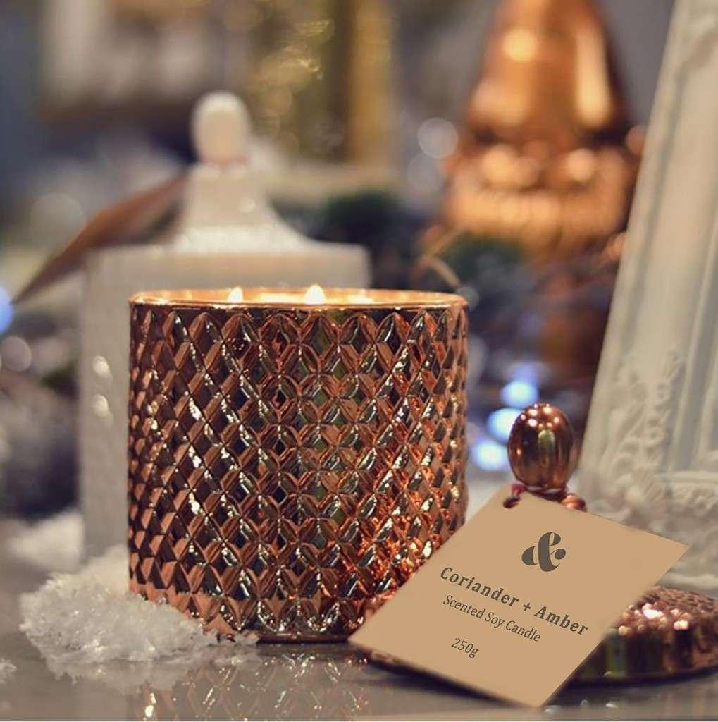 GEO CUT Copper Candle Jar