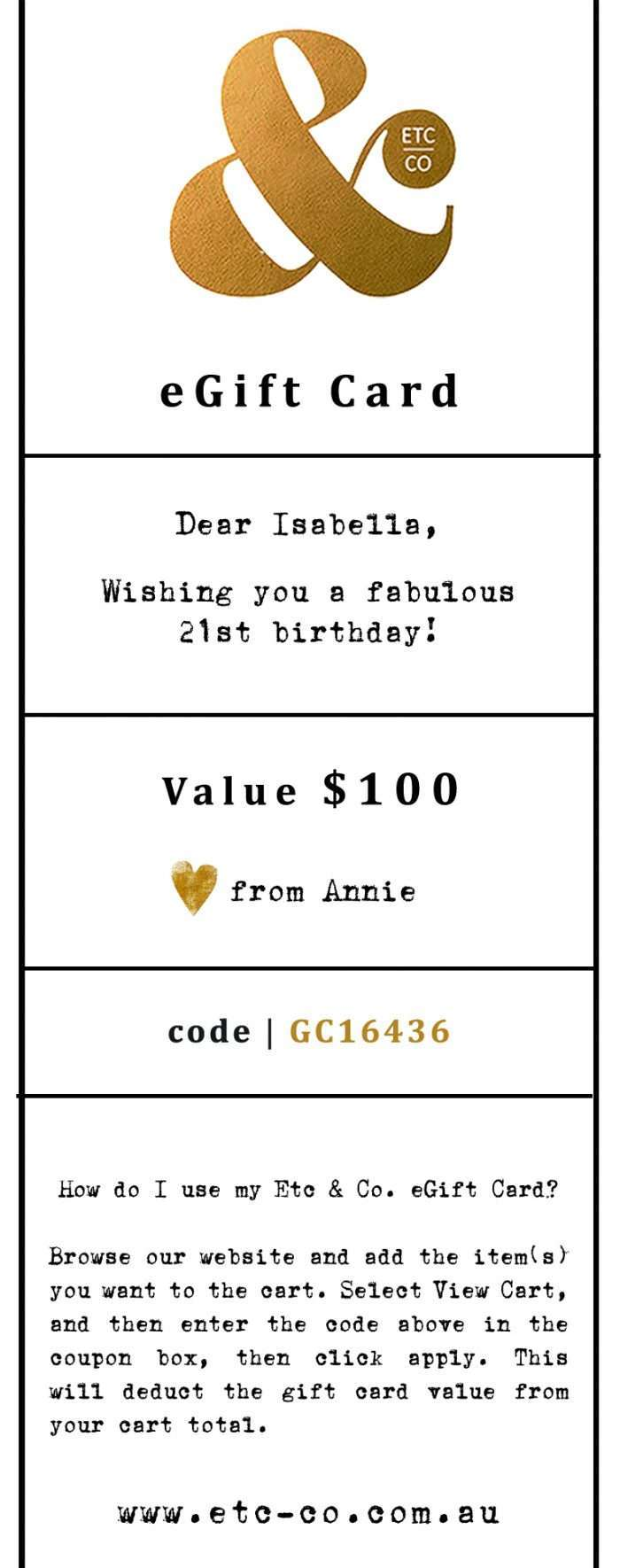 EGIFT CARD SAMPLE - $100