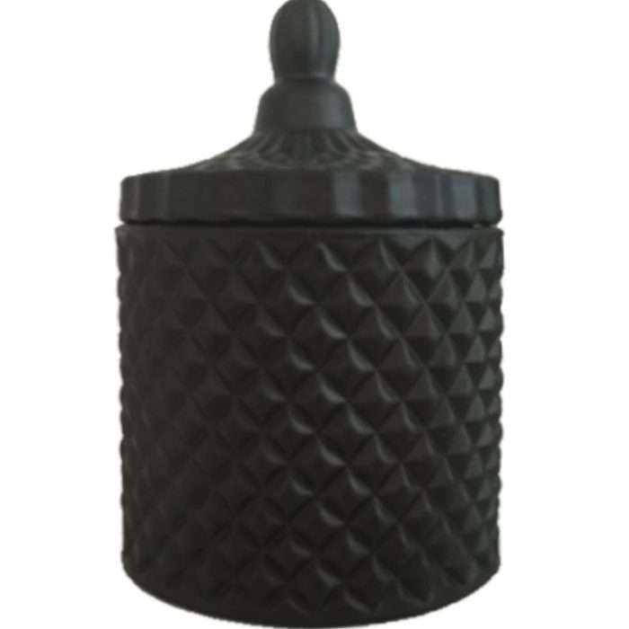 Matte Black Geo Cut Candle Large