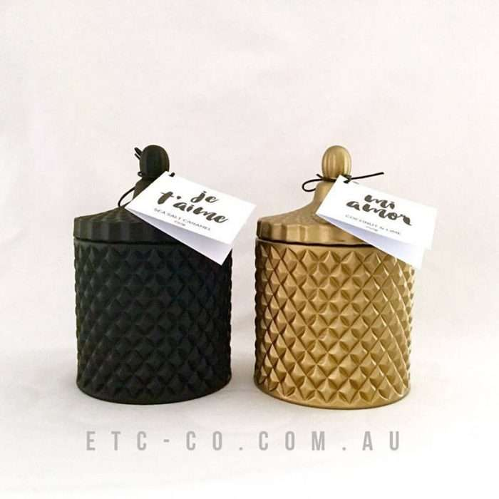 matte black geo cut candle matte gold geo cut candle jars