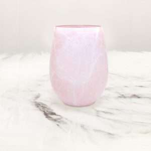 Pink Faux Marble Wine Glass Candle